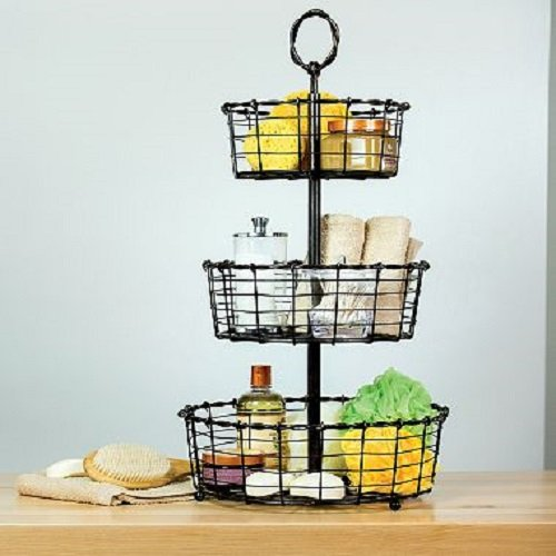 Giftburg Rustic Wrought Iron 3-Tier Wire Countertop Basket for Fruit, Vegetables or Cosmetics (Tiered Wire)