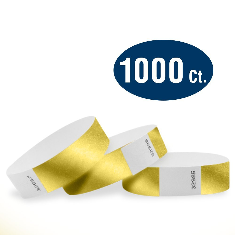 WristCo Deep Metallic Gold 3/4'' Tyvek Wristbands - 1000 Pack Paper Wristbands for Events by Wristco
