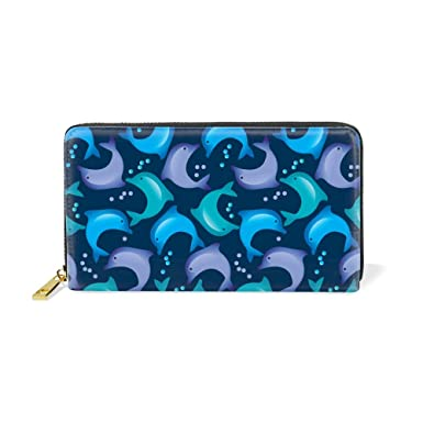 3dc24357ddf2 Women Zipper Wallet Abstract Dolphin Clutch Purse Phone Credit Card ...