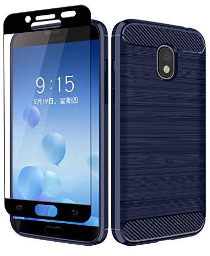 Samsung Galaxy J3 2018/J3 Orbit/J3 Achieve/J3 Express Prime/J3 Prime 2/J3 Emerge 2018/Amp Prime 3/J3 Eclipse 2/Sol 3/J3 Aura/J3 Star Case + Aoways Tempered Glass, Texture Soft Protective Cover – Blue Review