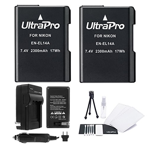 EN-EL14 / EN-EL14a Battery 2-Pack Bundle with Rapid Travel Charger and UltraPro Accessory Kit for Select Nikon Cameras Including D3100, D3200, D3300, D5500, D5300, D5200, and D5100