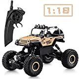 Tobeape RC Car, Wireless Remote Control Off Road RC Toy Car, 1/18 Scale High Speed RC Truck, 4 Wheel Drive Jeep, Birthday Gift for Children, Kids (2 Rechargeable Batteries Included) - Yellow