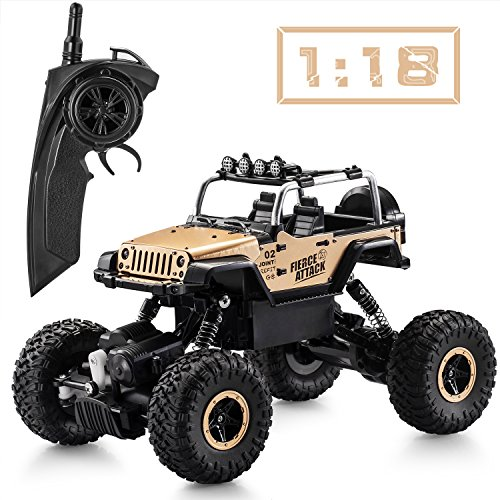 Tobeape RC Car, Wireless Remote Control Off Road RC Toy Car, 1/18 Scale High Speed RC Truck, 4 Wheel Drive Jeep, Birthday Gift for Children, Kids (2 Rechargeable Batteries Included) - Yellow ()