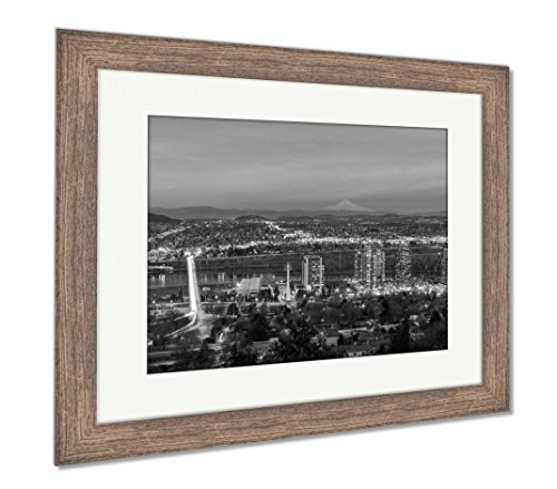 Ashley Framed Prints Portland South Waterfront at Sunset, Wall Art Home Decoration, Black/White, 30x35 (Frame Size), Rustic Barn Wood Frame, AG6509107 ()