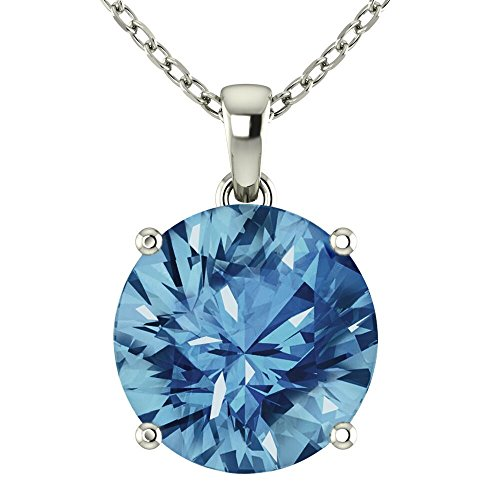 Fine Necklace Womens (Belinda Jewelz 14k Rhodium Plated White Gold Round Cut Gemstone Sparkling Rope Chain Sterling Silver Birthstone Fine Jewelry Classic Women Hanging Pendant Necklace, 4.1 Carat Swiss Blue Topaz, 18 inch)