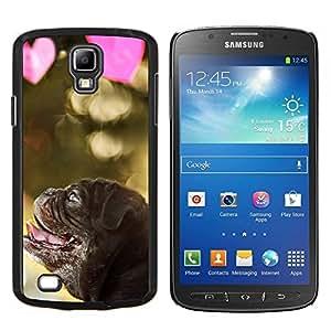 KLONGSHOP // Cubierta de piel con cierre a presión Shell trasero duro de goma Protección Caso - Pug Cachorro de perro de San Valentín del amor del corazón - Samsung Galaxy S4 Active i9295 //