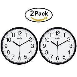 Hippih 10 Silent Quartz Decorative Wall Clock Non-ticking Digital(Black)(2 pack)