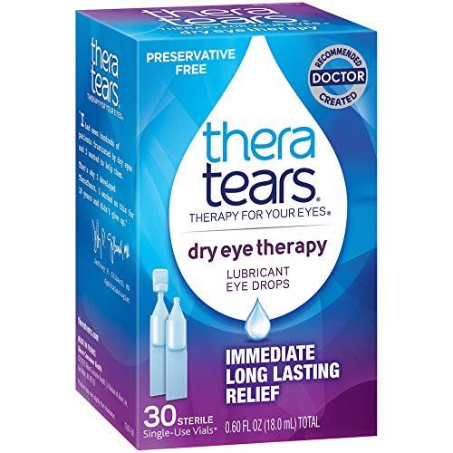 TheraTears Eye Drops for Dry Eyes, Dry Eye Therapy Lubricant Eyedrops, Preservative Free, 30 Count Single-Use Vials ()