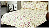 Purple Pink Flower King Bedspread - Purple Pink Flower King Cotton Bedspread And Pillowcases (3pcs Quilt Set)