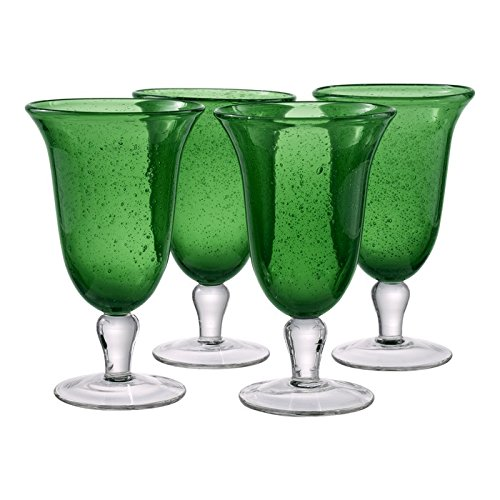 Artland Iris Footed Ice Tea Glass, Set of 4, 18 oz, Green -