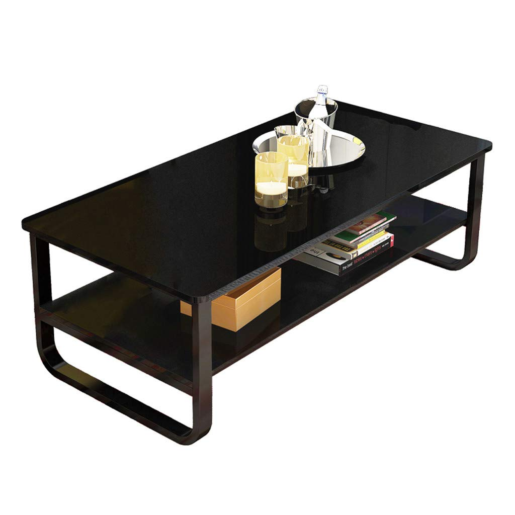 Coffee Tea Table 47''×22.8'', Sonmer Double Storage Space End Table Modern Simple Style Latest, Shipped from US - Two Day Shipping (Black)
