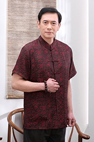 High-end Business Shirts Tang Suit Casual Shirts Chinese National Style Mulberry Silk by JIANYUAN-Tang Suit (Image #3)