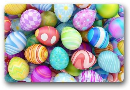 klonglsy Colorful Beautiful Easter Eggs Customized Novelty Rug Bathroom Carpets Doormat Indoor or Outdoor Floor Door Mat 23.6x15.7 Inches