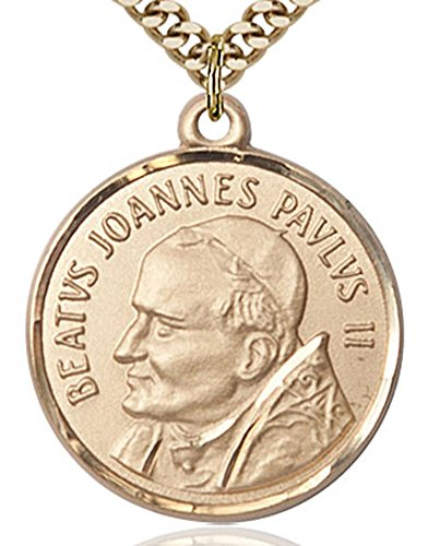 Chain Medal 14kt No Gold - Heartland Store Men's Round Gold Filled St. Pope John Paul II Medal + 24 Inch Endless Gold Plated Chain