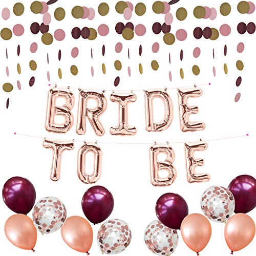 Bride to Be Mylar Banner,Burgundy Rose Gold Confetti Latex Balloons,Dots Paper Garland,23 Count