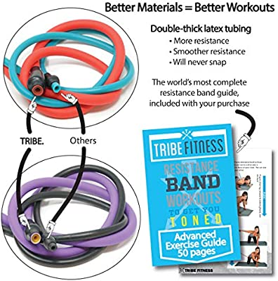 Tribe Premium Resistance Bands Set For Exercise Workout Bands For Men With Fitness Tension Bands Handles Door Anchor Ankle Straps Carry Bag Advanced Ebook Strength Training Home Gym More