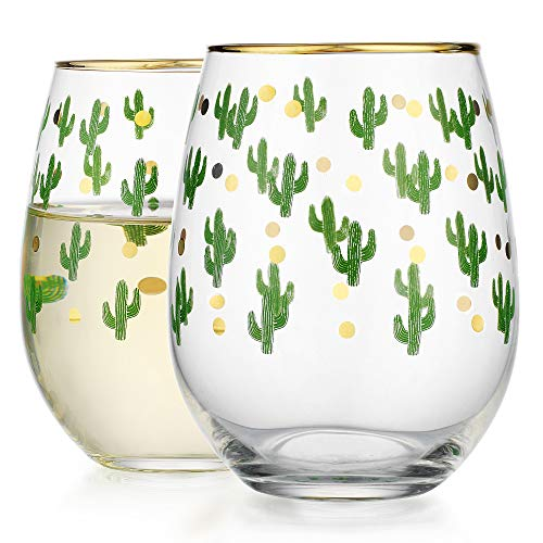 Elegant Home Personalized Gift Set of Two 19 Oz. Stemless Wine Glass - unique Novelty - Gag Gift. (Cactus) (Glasses Cactus)