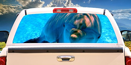 (SignMission Dolphin Rear Window Graphic Truck View Thru Vinyl Decal Back)