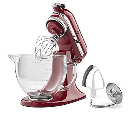 KitchenAid KSM105GBCER 5-Qt. Tilt-Head Stand Mixer with Glass Bowl and Flex Edge Beater - Empire Red by KitchenAid