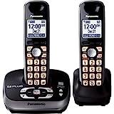 Panasonic KX-TG4032B DECT 6.0 PLUS Expandable Digital Cordless Phone with Answering System, Black, 2 Handsets