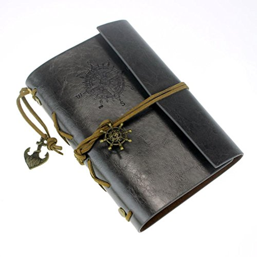 Vintage Leather Cover Journal Diary String Nautical (Black) - 4