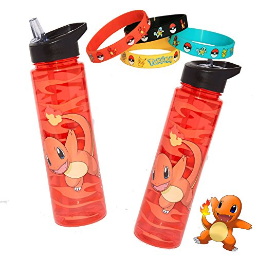 Pokemon Go Charmander Fire Orange 16 oz Water Bottle with (Pokemon Trainer Couples)