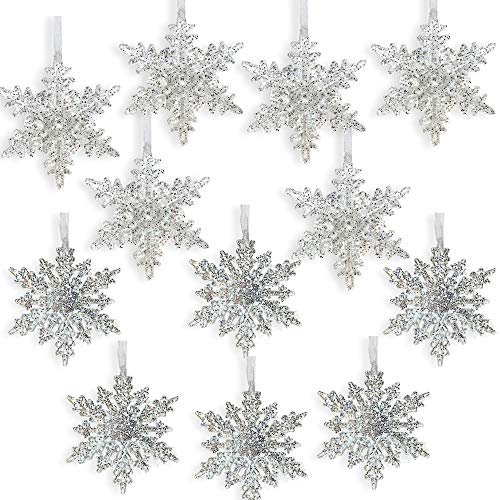 BANBERRY DESIGNS Acrylic Iridescent Snowflake Christmas Ornaments - Set of 12 Assorted Styles of Snowflakes - Clear Acrylic with Glitter - Winter Snowflake Decorations