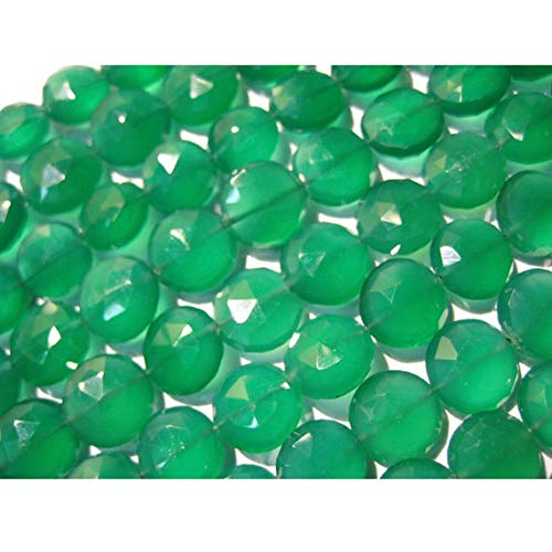 GemAbyss Beads Gemstone 1 Strand Natural Green Onyx/AAA Gemstones/Faceted Gemstone/Coin Beads - 12-14mm Each/ 5 Inch Code-MVG-17259 ()