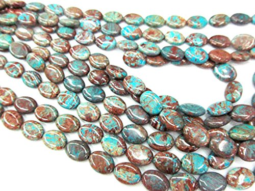 ilica Jasper Stone,rainbow blue oval egg flower agate Loose Beads spacer bead Necklace 16inch ()