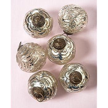 Luna Bazaar Large Mercury Glass Ornaments (Nola Design, Wave Ball Motif, 3-Inch, Silver, Set of 6) - Vintage-Style Decorations