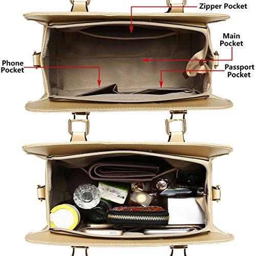 Set 4pcs Shoulder Soperwillton Handbag Purse Bags for Red Tote Bag Women Satchel fgqvR6