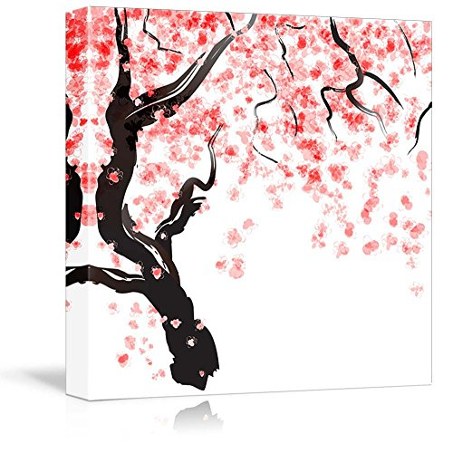 wall26 - Canvas Prints Wall Art - Japanese Cherry Tree Blossom Watercolor for Decor   Modern Wall Decor/Home Decoration Stretched Gallery Canvas Wrap Giclee Print. Ready to Hang - 24