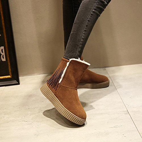 Mee Shoes Damen Quaste runde Durchgängiges Plateau Scheestiefel Gelbraun