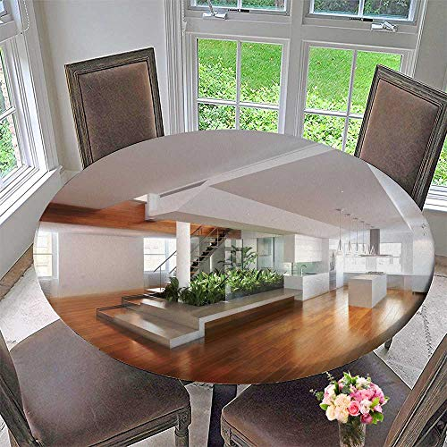 PINAFORE HOME Picnic Circle Table Cloths Empty Room of Residence with an Atrium Center and Hardwood Floors for Family Dinners or Gatherings 47.5
