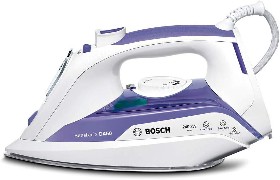 Bosch TDA5024010 Sensixx'x DA50 Plancha de vapor, 2400 W, 5.5 bares de presión, color morado y blanco