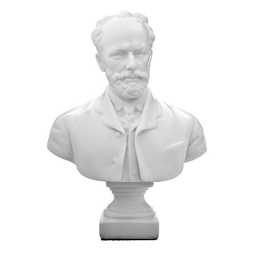 danila-souvenirs Russian Composer Pyotr Tchaikovsky Marble Bust Statue Sculpture 7.9 White
