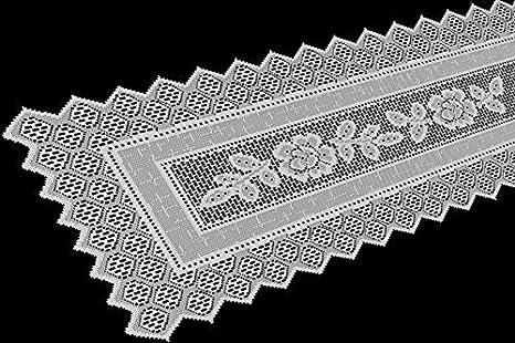 Table Runner Grega Design Brazilian Lace 19x62 Inches White Color 100 Percent Polyester by Interlar