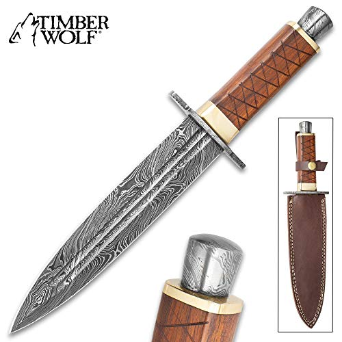 (Timber Wolf King's Realm Dagger - Damascus Steel Blade, Wooden Handle, Damascus Pommel and Guard, Brass Accents - Length 14