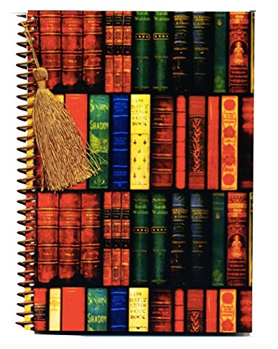 Antique Books notebook journal with gold silk tassel bookmark charm