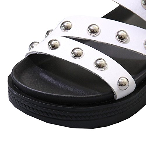 Dfb Women's Shoes Sleeves Slippers Leather Thick Bottom Cool Slippers Ladies Tides Slippers For Women,White-38