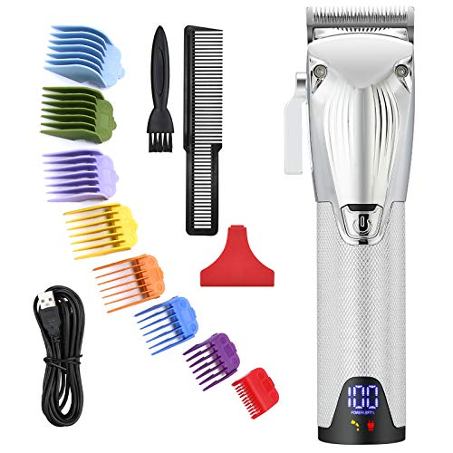 Colorski Professional Cordless Hair Clippers for Men All Metal Housing Hair Beard Trimmer Hair Cutting Kits with 8 Colorful Hair Guard Combs for Barbers Kids Home (Silver)