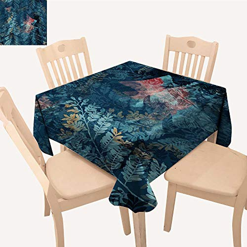 UHOO2018 Fitted Polyester Tablecloth  Ghostly Underwater worl Raster Imprints mixe Media Square/Rectangle Washable for Tablecloth,23 x 28inch ()