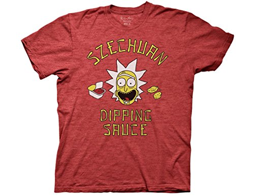 Ripple Junction Rick and Morty Rick's Szechuan Dipping Sauce Adult Big and Tall T-Shirt 2XLT Heather Red (Rick And Morty Szechuan Sauce T Shirt)