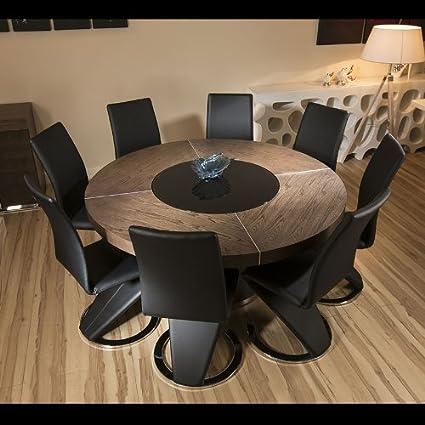 Grande Tavolo Da Pranzo Rotondo In Legno Di Olmo 8 Sedie Alto In Similpelle Nera Amazon It Casa E Cucina