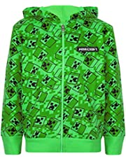 Vanilla Underground Minecraft Creeper All Over Print Boys Green Zip Up Hoodie Kids Hooded Sweater