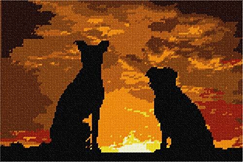 pepita Dogs Sunset Silhouette Needlepoint Canvas
