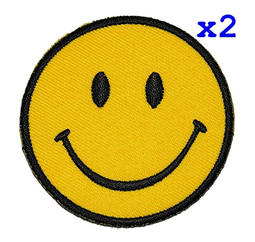 Pack of 2 Funny Smiley Smile Happy Yellow Face DIY Applique Embroidered Sew Iron on Patch SM-008
