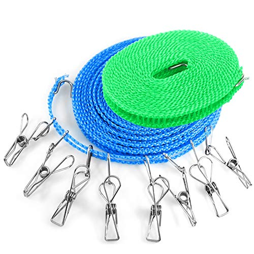 YuCool 2 Packs Portable Laundry Line with 8 Clothespins, 16ft & 26ft Windproof Clotheslines Ropes with Clothes Pins Clips for Outdoor Indoor Home Travel Camping Laundry Drying Use