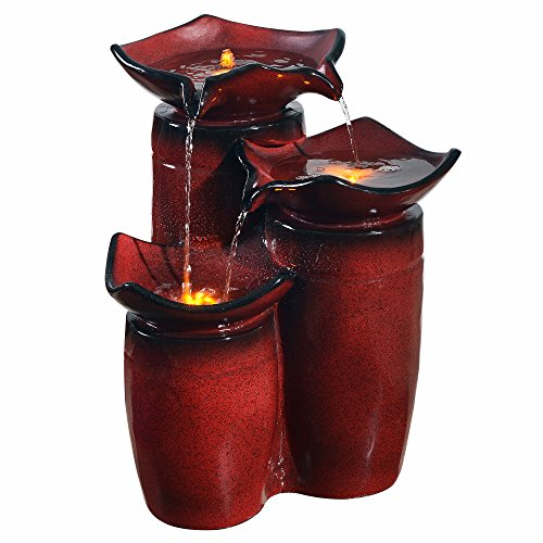 Peaktop Outdoor 3-Tier Glazed Pots Fountain - Gradient Red
