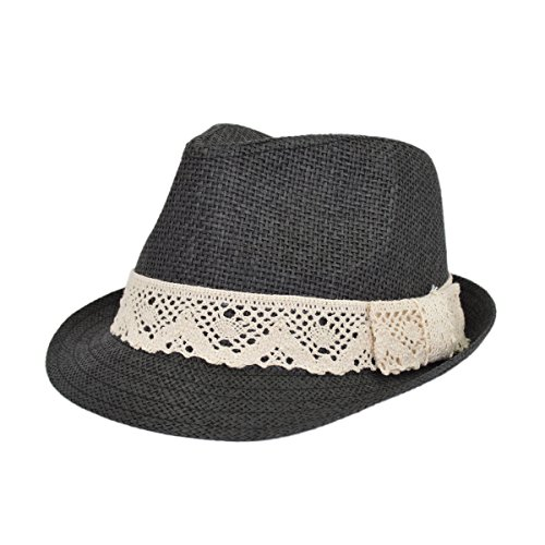 Women's Lace Ribbon Band Fedora Straw Sun Hat Available